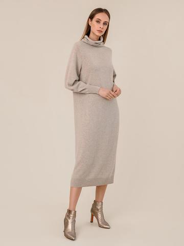 Женское платье бежевого цвета из шерсти и кашемира - фото 3