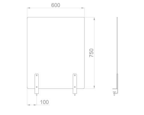 Настольный экран на струбц. Ш.600мм В.600/750 мм