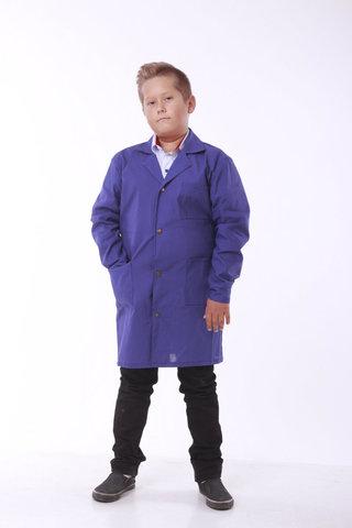 Халат шкільний робочий Garment Factory на кнопках, бавовна 100%, колір синій, 38 розмір
