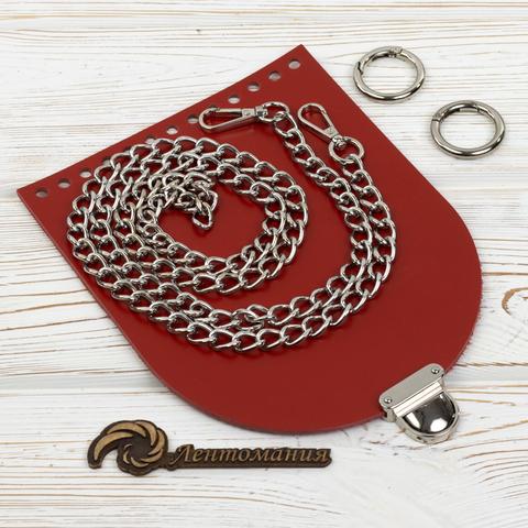"""Комплект для сумочки Орео """"Красный"""" с цепочкой"""