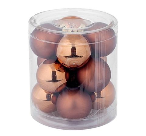 Набор шаров 12шт. в тубе (стекло), D3см, цветовая гамма: коричневая