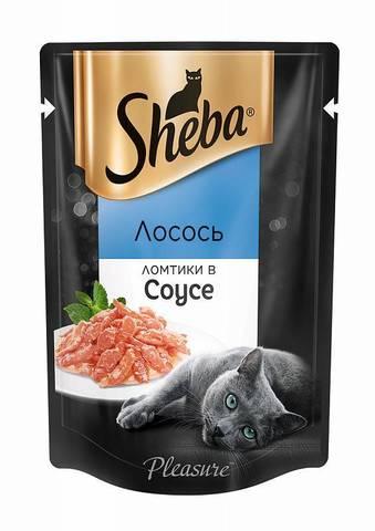 Sheba Pleasure пауч для кошек ломтики в соусе лосось 85 г