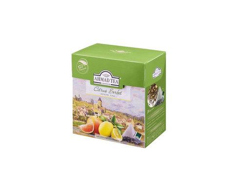 Чай зеленый в пирамидках Ahmad Tea Цитрусовый сорбет, 20 пак/уп