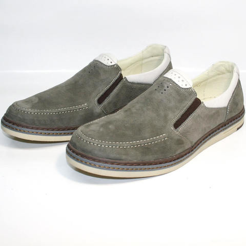 Smart casual мужские мокасины туфли лоферы кожа IKOC Gray