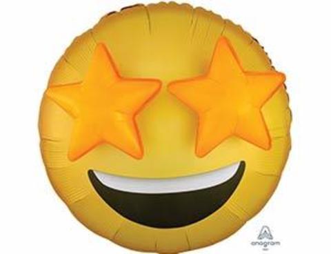 Фольгированный шар Джамбо Эмоции Смайлик Звезды