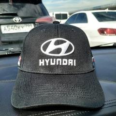 Кепка с вышитым логотипом Хендай (Кепка Hyundai) темно-серая