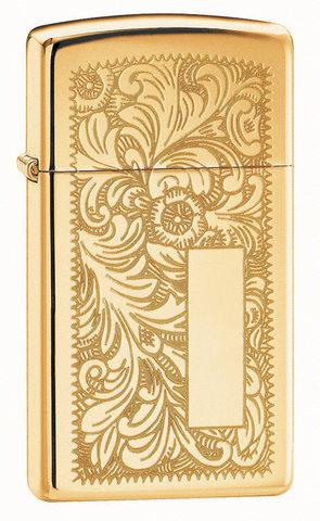 Зажигалка Zippo Slim Venetian Brass, с покрытием High Polish Brass, латунь/сталь, золотистая123