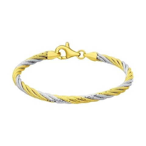 94054555- Браслет крученый из двухцветного серебра в лимонной позолоте