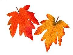 Декоративная ветка Яркие листья.оранжевый и желтый / 10 шт. /