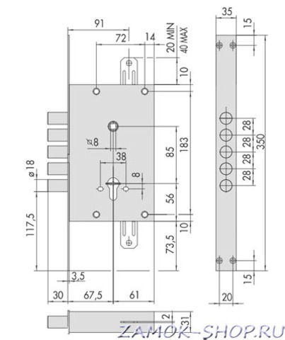 Купить замок врезной сувальдный (ЧИЗА) Cisa 56.525.88 (Италия)