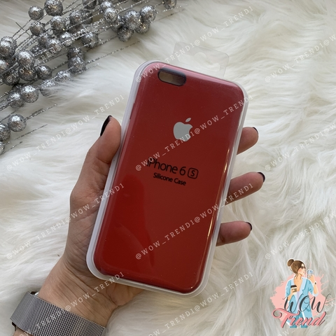 Чехол iPhone 6/6s Silicone Case /camellia white/ винный 1:1