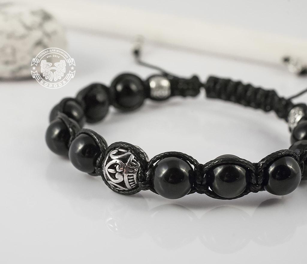 Boroda Design, Черный браслет шамбала из агата с металлической фурнитурой. «Boroda Design» boroda design браслет шамбала ручной работы из бычего глаза