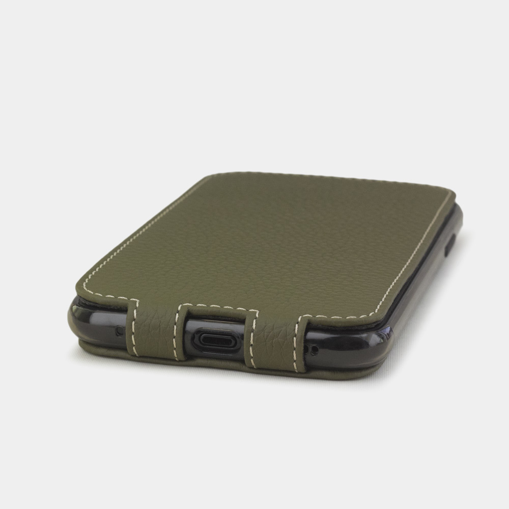 Чехол для iPhone XR из натуральной кожи теленка, зеленого цвета