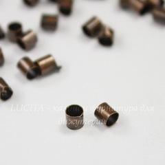 Кримпы - зажимные бусины - трубочки 2,5х2,5 мм (цвет - античная медь), 2 гр., около 105-115 шт