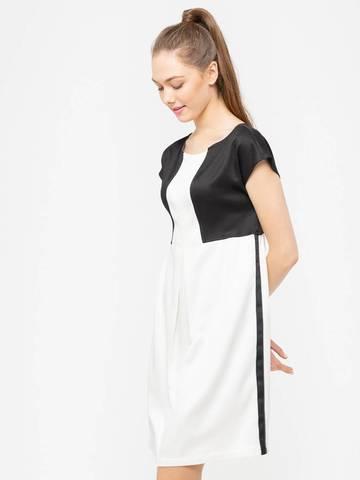 Фото белое платье свободного силуэта с имитацией жакета - Платье З087-515 (1)
