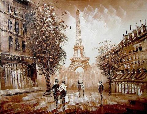 Алмазная Мозаика 40x50 Улица Парижа большими мазками