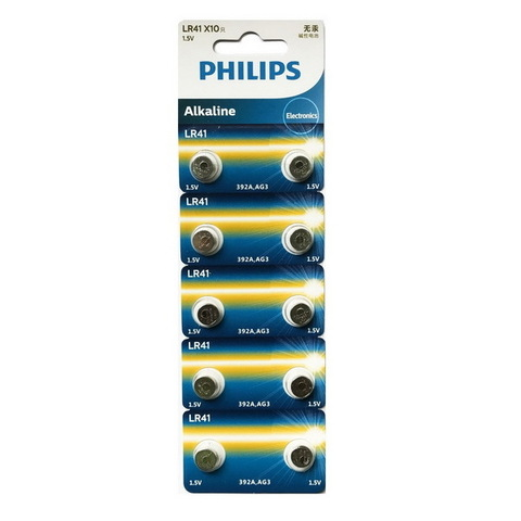 Батарейки часовые Philips LR41 (392, AG 3) 10 BL