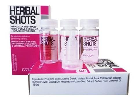 Ампулы HERBAL SHOTS для восстановления структуры волос Farcom 3 шт