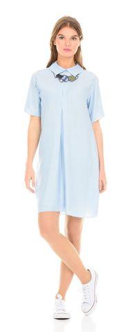 Фото голубое платье-рубашка с отложным воротником из вискозы - Платье З114-184 (1)