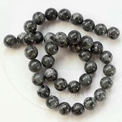 Бусина Лабрадорит Норвежский (прессов), шарик, цвет - темный серый, 10 мм, нить