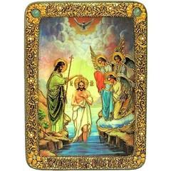 Инкрустированная Икона Крещение Господа Бога и Спаса нашего Иисуса Христа 29х21см на натуральном дереве, в подарочной коробке
