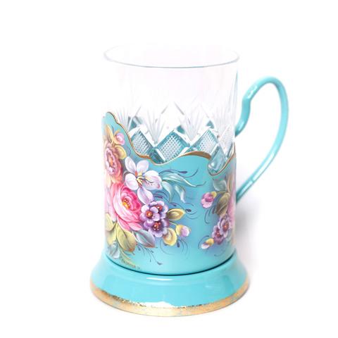 带艺术绘画的水晶玻璃杯+杯托 绿松石 PODS25102018D018