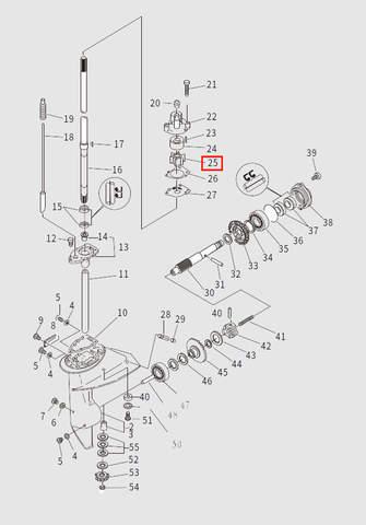 Крыльчатка помпы для лодочного мотора T9.8 Sea-PRO (13-25)