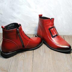Ботинки женские кожа красные весна осень Evromoda 1481547 S.A.-Red