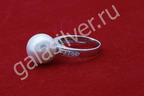 Кольцо с майоркой и фианитами из серебра 925
