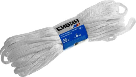 Шнур хозяйственный СИБИН, полиэфирный, длина 25 м, диаметр - 6мм