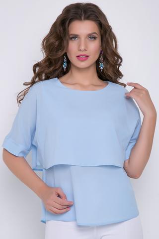 <p>Отличный офисный вариант! Модная блузка с элементом двухслойности. Рукав кимоно на манжете.</p>