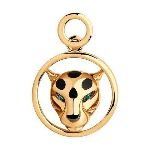 3030157 - Подвеска Пантера из золота с изумрудами