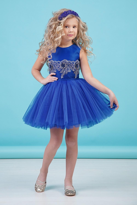 Платье цвета электрик для девочки 38-9001-2