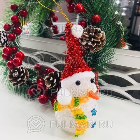 Снеговик светящийся мигающий игрушка новогодняя (цвет: Красный)