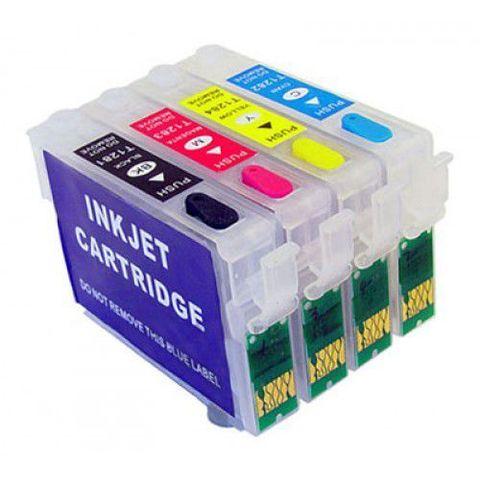 Перезаправляемые картриджи Epson SX130 (T1281-T1284), Комплект 4 шт, с чипами – купить по низкой цене в Инк-Маркет.ру с доставкой