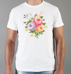 Футболка с принтом Цветы (Розы) белая 0046