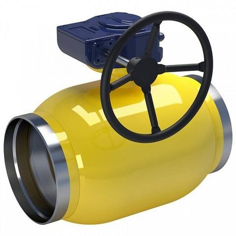 Кран шаровый приварной LD КШЦП GAS для газа стандартный проход с редуктором