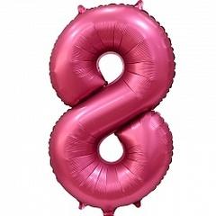 Шар (34''/86 см) Цифра, 8, Бордовый, Сатин, в упаковке 1 шт.