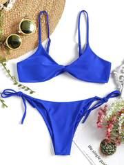 купальник бикини синий с лямками твист Royal Twist 1