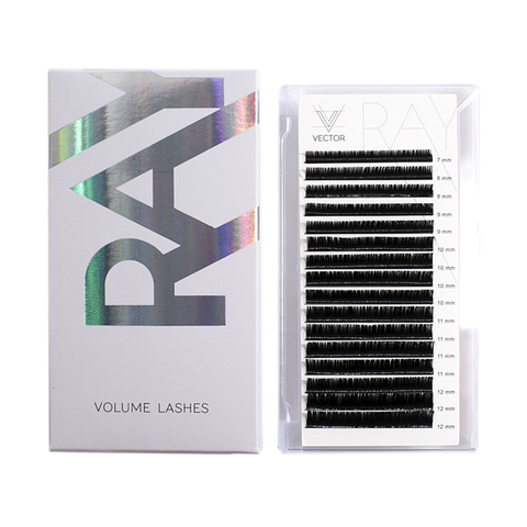 VLR-026 Микс ресниц для наращивания. VECTOR RAY Silk Lashes. Изгиб D. Толщина 0,07 мм. Длина 7-12 мм