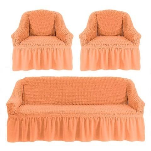 Комплект чехлов для дивана и двух кресел персиковый.
