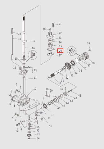 Прокладка корпуса помпы для лодочного мотора T9.8 Sea-PRO (13-26)