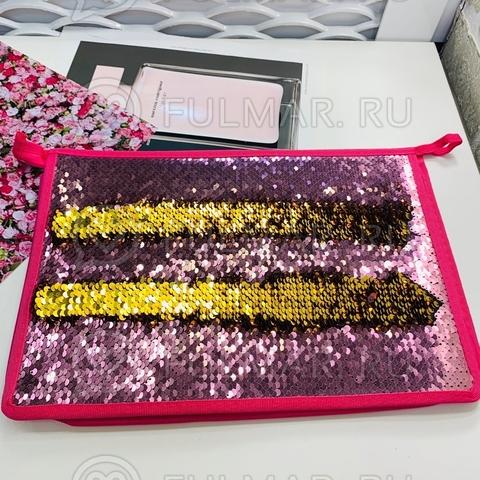 Папка для труда А4 для девочки в двусторонних пайетках 2 отделения (цвет: Розовый-Золотистый)