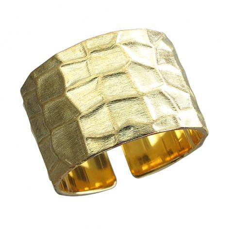 РазЪемное широкое кольцо из серебра в лимонной позолоте