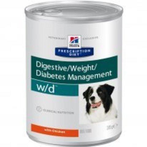Hill's диета W/D консервы для собак лечение сахарного диабета, запоров, колитов, контроль веса 370г