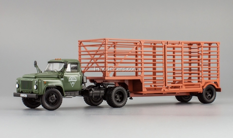 GAZ-52-06 semitrailer for carriage of packagings agricultural khaki DIP 1:43