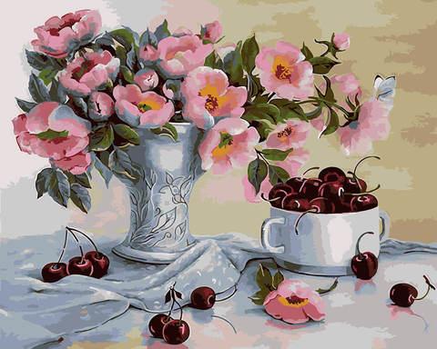 Картина раскраска по номерам 40x50 Натюрморт с вишнями