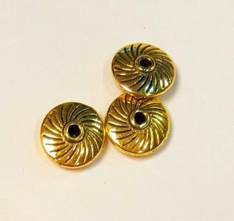 Фурнитура для бижутерии - рондель 11 мм античное золото