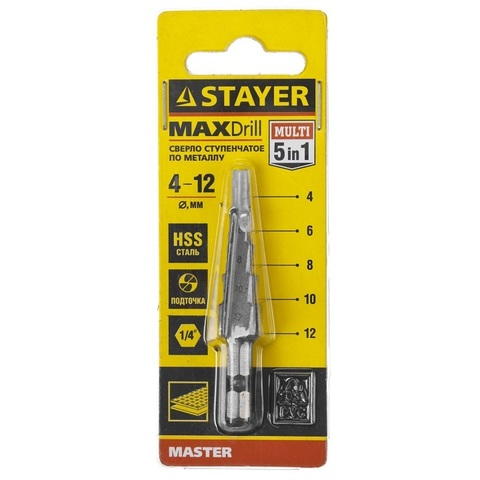 STAYER 4-12мм, 5 ступеней, сверло ступенчатое, сталь HSS