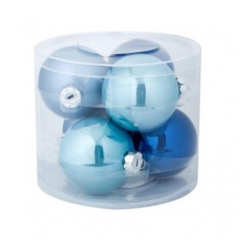 Набор шаров 6шт. (стекло), D8см, синий микс